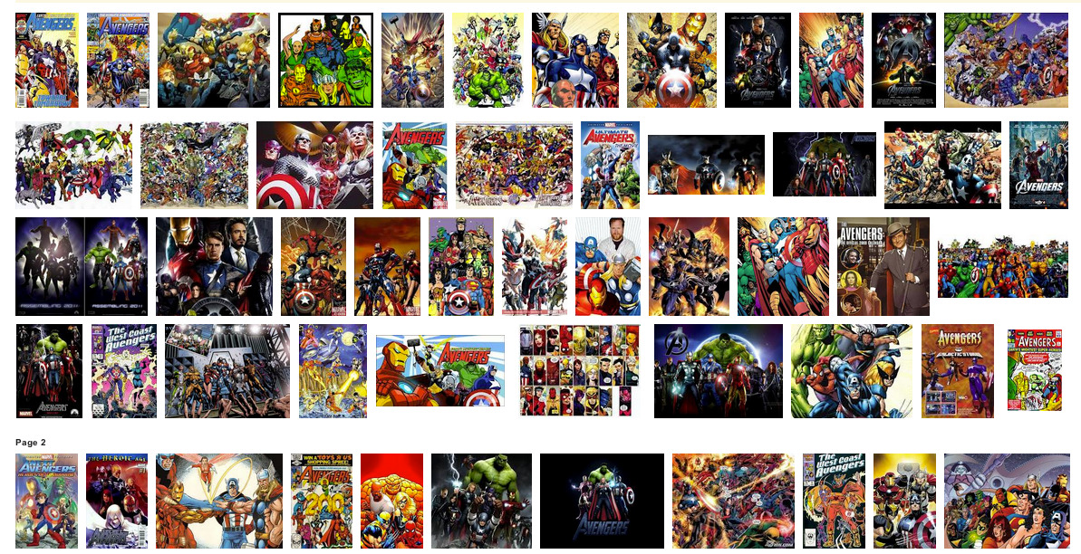 Google Image Search results for The Avengers.  So. Excited.