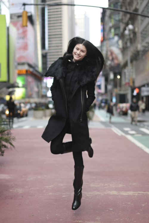 Models love jumping in Times Square - Sui He