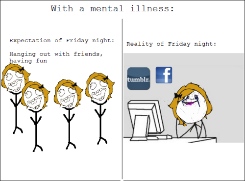 recoveryragecomics:  friday night fun  blankets, tv show marathons, and self pity wooo