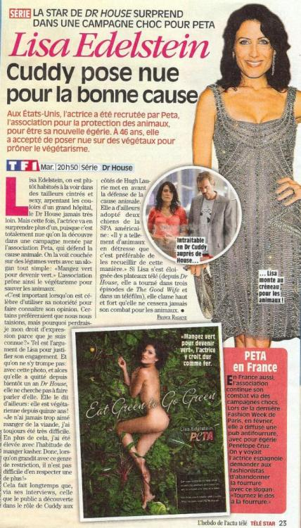 Lisa Edelstein for PETA @ Télé Star (April 2012)  credit @LapizSilkwood