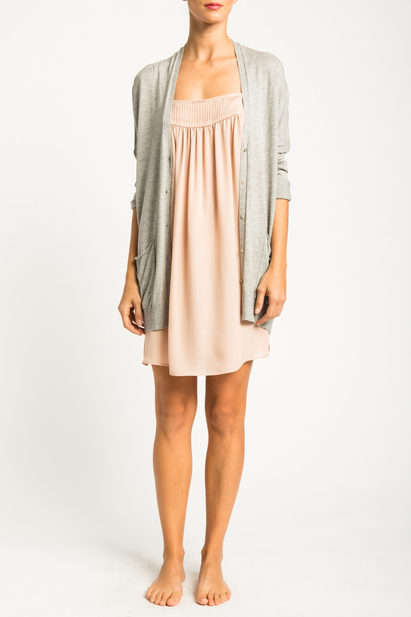 Double Pocket Cardigan & Silk Pin-Tuck Dress