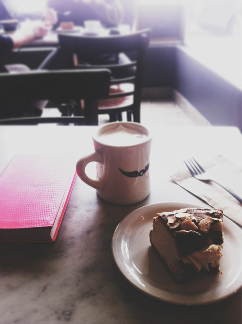 Coconut Tea Latte, a slice of cake and a book - perfect way to start the day.