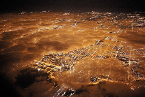 bluestockingsociety:  Chicago at Night from the Air by JC Richardson on Flickr.
