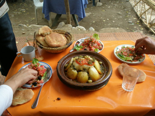 Tagine and salad! Taken in Ourika, Morocco.
