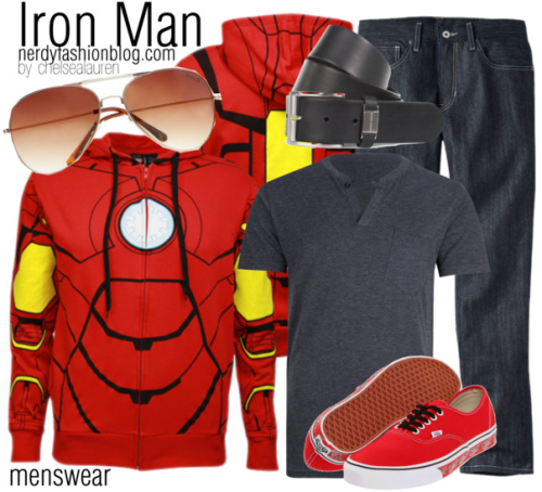 Iron Man | Marvel by chelsealauren10    Skinny jeans, $45Vans shoes, $47Mango aviator sunglasses, £18Iron Man My Iron Suit Men's Costume Hoodie Sweatshirt, $60FYASKO Monarch Mens Henley, $32