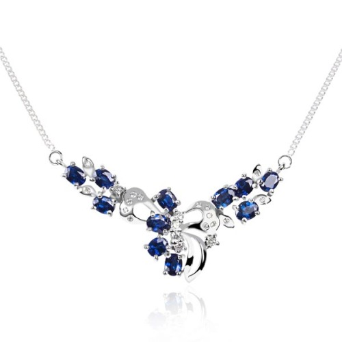 White gold necklace with sapphires and diamonds