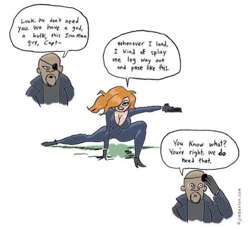 Why the Avengers need the Black Widow by Jim Benton via Roger Ebert