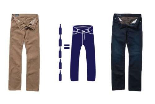 To celebrate Earth Day 2012, Bonobos introduced a special line of environmentally sustainable denim made completely from recycled materials.  The jeans are called Bottle Rockets– aptly named because each pair of jeans contains 3-5 recycled beer bottles. Bottle Rocket jeans are made from White Oak Cone Denim, which features EarthSpun yarn. EarthSpun is an innovative company that makes apparel and yarn out of 100%  recycled cotton, polyester, plastic bottles, and x-ray film.  Instead of using dyes or chemicals in their yarn, the colors of EarthSpun yarn (and the resulting apparel and denim) come from the colors of the recycled plastic bottles and x-ray film they use- blue, green, and brown yarn comes from the recycled bottles, and gray yarn comes from the x-ray film.   (via Jeans Made Of Recycled Beer Bottles - PSFK)