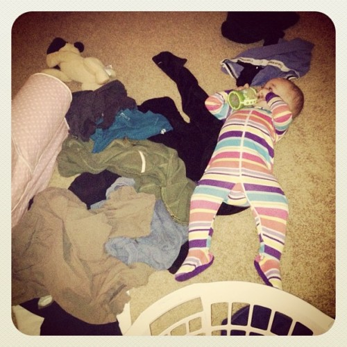 Claire helping with the laundry this morning (Taken with instagram)