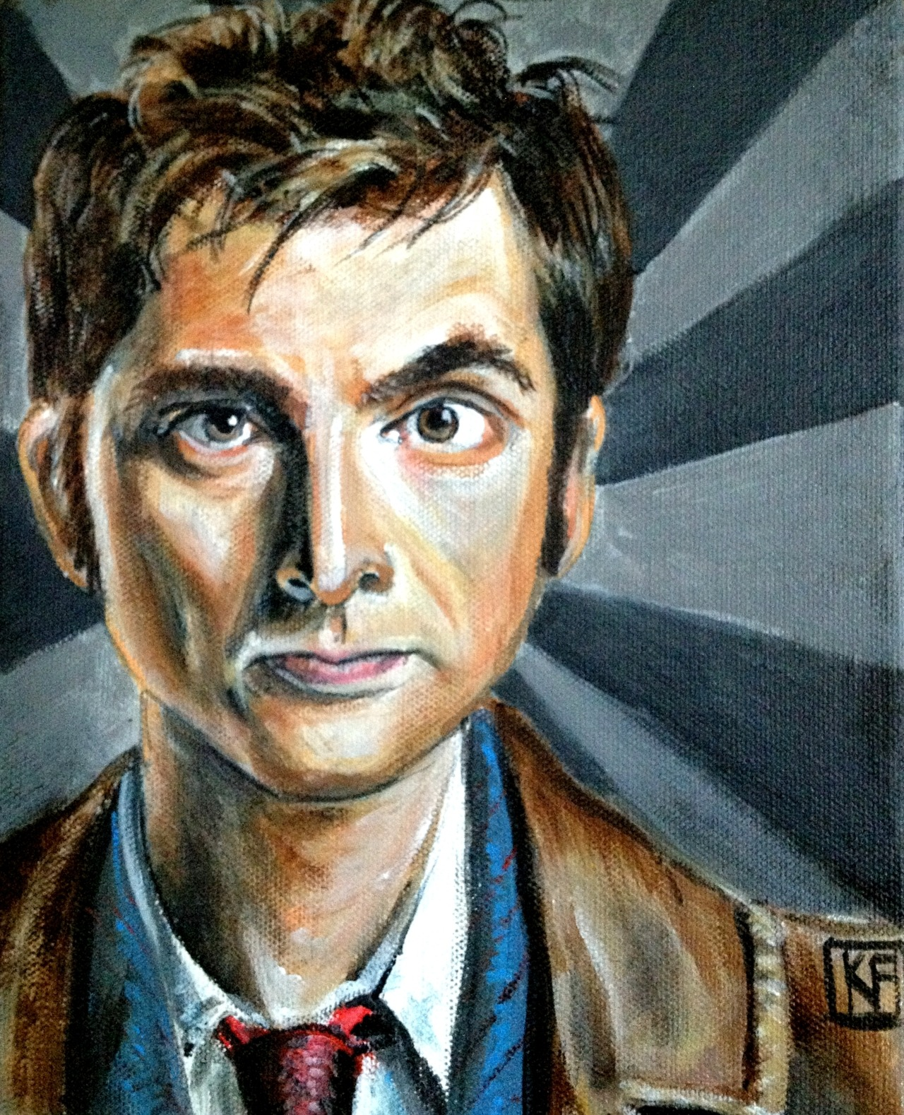 """The 10th Dr"" 8x10 Acrylic on Canvas  I did this for a Dr Who inspired art show!!! Prints are available here"