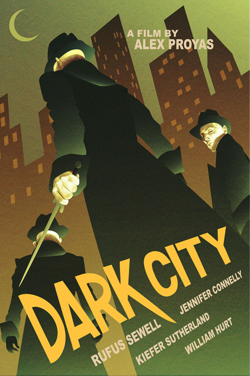 thetvscreen:  #57: Dark City    I saw this movie six times in the theater. By myself. At the time, it was one of the most audacious things I had ever witnessed. To this day, it stands as one of the greatest sci-fi movies ever made. Alex Proyas has since become an industry hack but this remains as his greatest contribution to the cinema.