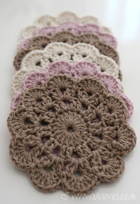d-crochet:  Materials used in the example: Simply Soft light worsted weight yarn, color 9605 Mango with a U.S. size G hook. The finished size is about 5 inches in diameter, when made with these materials. To start: Ch 6, join with a sl st to form a ring. Rnd 1: ch 3 (counts as first dc), 19 dc in ring, join with sl st in top of first ch-3. (20 dc total for this round) Rnd 2: ch 3 (counts as first dc), dc in next dc, * ch 2, dc in ea of next 2 dc **, repeat the directions between * and ** around, then ch 2, sl st in top of first ch-3 of this rnd. The 1893 pattern had 1 chain between the dc groups but I found that it worked out nicer with 2 chains between. In the era that this pattern was first written, crocheters often made looser stitches (instead of increasing the number of stitches) to keep circular pieces from curling. Today we prefer to use increases. Rnd 3: sl st in next dc (to reach starting point for this rnd), sl st in ch-2 sp, ch 3 (counts as first dc), (dc, ch 2, 2 dc) in same ch-2 sp, * skip next 2 dc, (2 dc, ch 2, 2 dc) in next ch-2 sp **, repeat the directions between * and ** around, then sl st in top of first ch-3 of this rnd. Rnd 4: sl st in next dc (to reach starting point for this rnd), sl st in ch-2 sp, ch 3 (counts as first dc), (6 dc, sc) in same ch-2 sp, * (7 dc, sc) in next ch-2 sp **, repeat the directions between * and ** around, then sl st in top of first ch-3 of this rnd. 1893 pattern used 10 dc. End off.