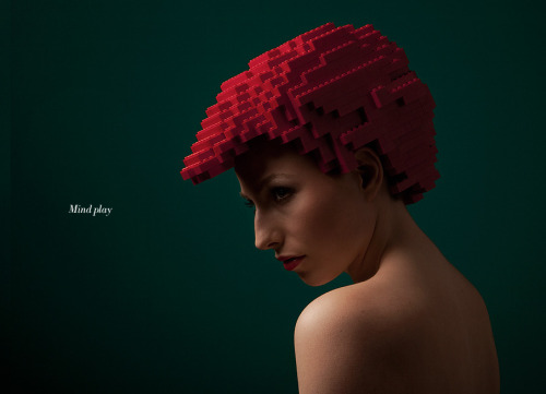 Lego Wig (via Mindplay: bricks on me - ELROY KLEE Brand Design & Art Direction).