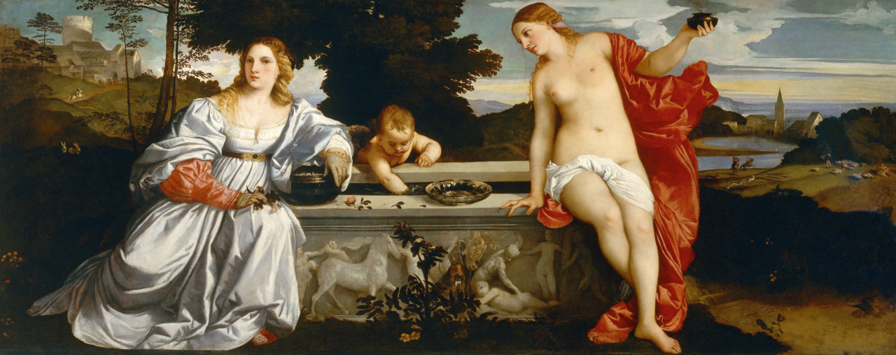 Sacred and Profane Love (c. 1513-1514), Oil on canvas, Galleria Borghese, Rome | artwork by Titian