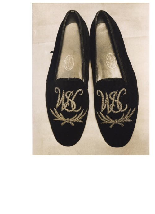 Winston Churchill's slippers. From Churchill Style, newly out from Abrams and written by Barry Singer.  More weird Churchillian fashion ephemera, here.