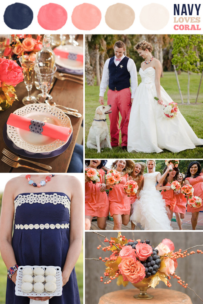 Wedding Wednesday Navy & Coral theme! LOVE it