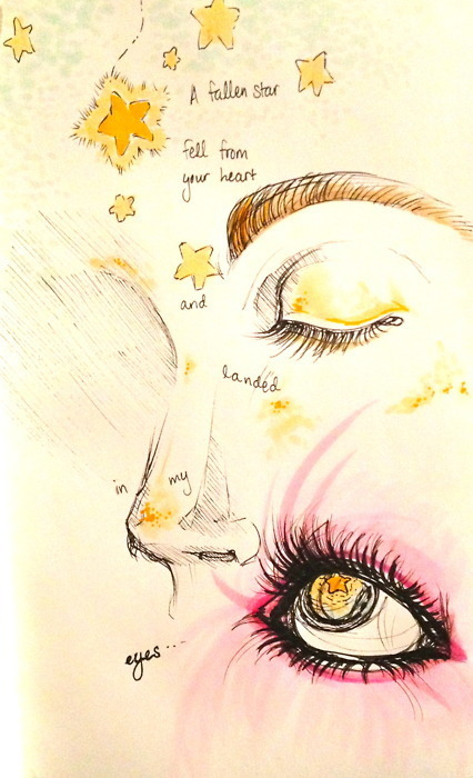 "a drawing inspired by ""Cosmic Love"" by Florence + the Machine"