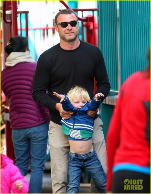 "I saw this photo of Liev Schreiber with his chill'ren and the first two thoughts that came to mind were:   1. DAMN.    2. ""Spends quality time with his kids when he can  Secure in his manhood cuz he's a real man  A lover and a fighter and he'll knock a f*****r out  Don't take him for a sucker cuz that's not what he's about  Every time I need him, he always got my back  Never disrespectful cuz his mama taught him that."""