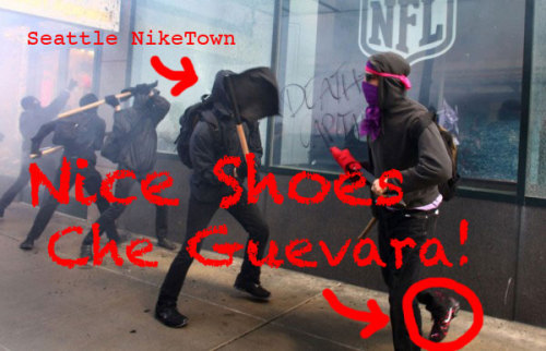 For revolutionary style and protection from broken glass, choose Nike! Nice Job Che Guevara! Source: Seattle Post Intelligencer