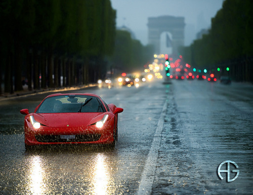 cartastic:  Ferrari 458 Italia on Champs Élysées during a rainy day. Photo by A.G. Photographe.
