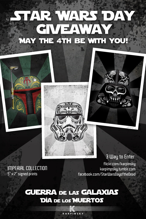 "karpimpsky:  Star Wars Day Giveaway!Who doesn't love free stuff?  The last year has been good to me on Etsy, and now I'm giving back.  Take a look below to learn how to enter a chance to win free prints: What You Get:Oscuro la Muerte (Dark Death)Muertos Tormenta (Dead Storm)Muerte de un Cazador de Recompensas (Death of a Bounty Hunter)Museum-quality prints featuring vivid colors and spot on saturation. Printed on Sunset Hot Press Rag 310g. This is 100% cotton, white art paper with a silky, smooth surface. Printed using a 12 color Lucia pigment inkset. Expected life on 100% cotton rag paper is 100 years.5"" x 7"" final size. 4.5"" x 6.5"" printed, with a .25"" white border. Print will ship flat, ready for framing, can be trimmed to 4"" x 6"" if necessary.How to Enter:1. FLICKR: Fave or comment on Flickr.Both count as an entry. 2. FACEBOOK: Simply comment on the facebook post at: Facebook.""Share"" the above post.""Like"" www.facebook.com/StarWarsDayoftheDeadAll count as an entry. 3. TUMBLR: Just reblog/like this post! (One reblog only, please)Both count as an entry.If you enter all ways, you'll increase your odds of winning! How long this will last:One day only, I will pick a random  winner from these entries on May the 4th, 2012 at 10:00pm CST. NOTE: I will need to contact you for shipping information at the deadline.  Prints will be sent via USPS Mail.  Overseas entries welcome!"