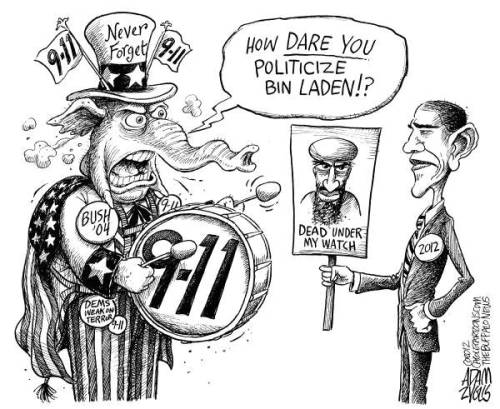 "timekiller-s:  cartoonpolitics:  American politicians playing politics with 'terrorism' ? Crikey .. as if that would ever happen ..  But it's okay if you're a Republican. This is how it always works in their ""listen to me, listen to me, don't listen to them"" whirly loop. Ever notice how some editorial cartoonists depict the standard-issue GOP elephant with tiny ears, and President Obama with Dumbo-like ears? That has stricken me very symbolic of the GOP, which doesn't listen, and the President, who at least listens and gets some things right, and still others wrong. Barack Obama is NOT the *perfect* President. There hasn't ever been a *perfect* President, and there never will be.  Liberals are well taken to call out this President for several things, but they shouldn't be an indictment of his entire Administration. Cartoon by Adam Zyglis, The Buffalo News. ________________________ Also: If you wondered why the Democratic Party is represented by a donkey and the GOP by an elephant, blame this guy, the father of editorial cartoonship."