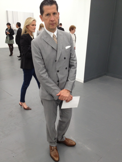 Looking dapper as always, @wmags Stefano Tonchi perusing the gallery booths @FriezeNewYork. #FNY12