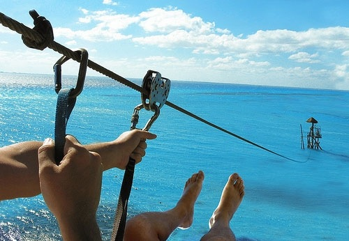 Zip lining over the ocean. Yes yes yes yes yes yes yessssssssss