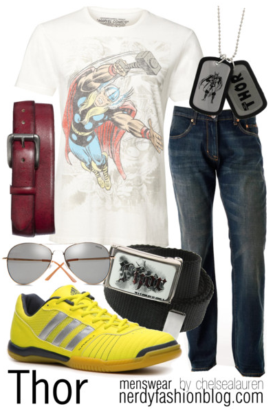 Thor | Marvel by chelsealauren10    T shirt, 30 AUDJewelry, $15Belt, $28adidas Men's Super Sala 4 Sneaker - Yellow, $50