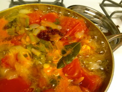 Tomato Broth in the making