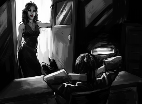 direwolfhugs:  [Image: Black and white fanart of Asami as a noir-style dame, stepping into the office of Korra the private investigator. Korra has her legs kicked up on the table, all gruff casualness; Asami poses against the doorframe like she owns the place.] phenylbox:  I heard you're the best in the business, Avatar.