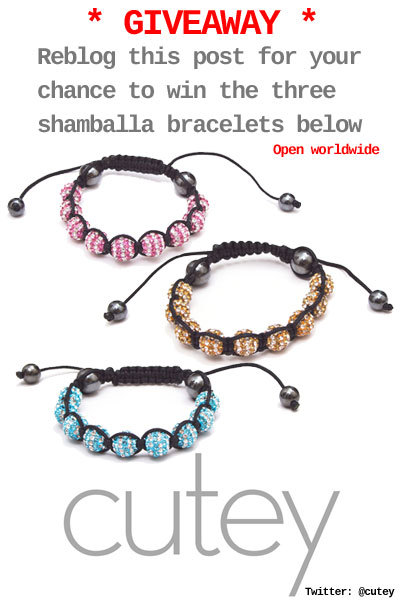 cuteyjewellery:  We've just launched a range of shamballa bracelets, and we're running a giveaway. For your chance to win yourself a shamballa bracelet reblog this post!  Five to be won, open worldwide.