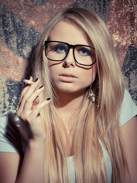 Chris smoking glasses blonde by northerncards on Flickr.