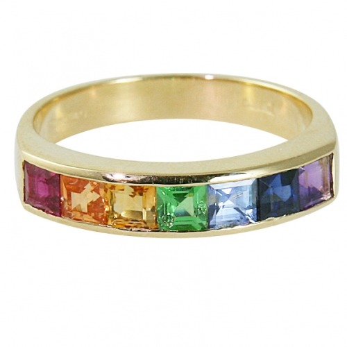 Multicoloured sapphire rainbow eternity ring