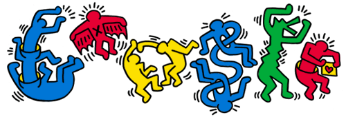 Google celebrating Keith Haring's 54th birthday.