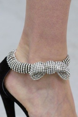 Rhinestone covered ankle straps with bows? Yes, please!
