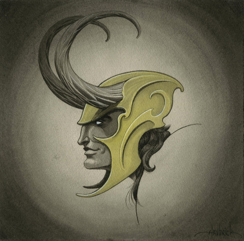 all-about-villains:  Loki : By Tom Haubrick / Store Part of the 'Assemble' art show celebrating The Avengers movie at Gallery1988 / Tumblr.