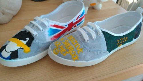 geekilicious:  Custom Sherlock Shoes GIVEAWAY! In honor of Series 2 finally coming to PBS this Sunday, I am giving away a pair of custom Sherlock shoes. I will paint a simple design (such as these, also shown above) of any two characters you choose on a pair of canvas slip-ons. Want to win? Reblog this post. Contest will run from today 5/3 until Tuesday 5/8 around 12pm EST. Please try to keep reblogging to once a day.  Anyone can enter!  ONE winner will be chosen by using random.org I will contact the winner via their ask box if it is turned on.  The winner will have 36 hours to claim their prize. You don't need to follow me, but if you do you'll see who the winner is and be updated on other stuff I make and future giveaways.  Good luck everyone!