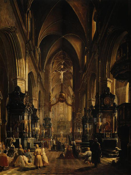 Aleksander Gryglewski - Interior of the St. Mary's Church in Kraków 1858