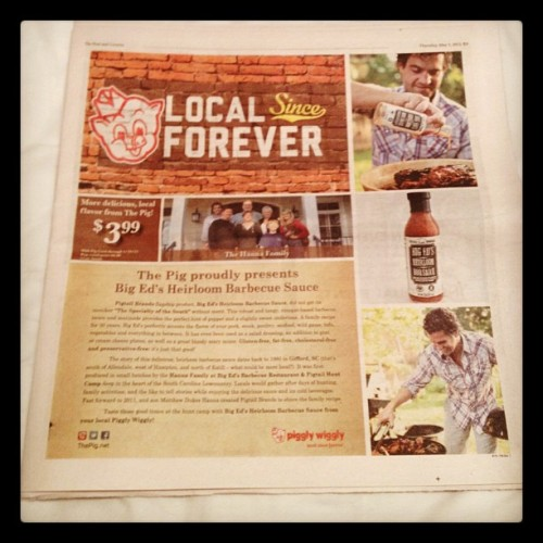 Charleston Scene inside front cover today. Pigtail Brands Big Ed's Heirloom & Piggly Wiggly. Local Since Forever, Saucy Since Forever! Dream Team.  (Taken with Instagram at Charleston, SC)