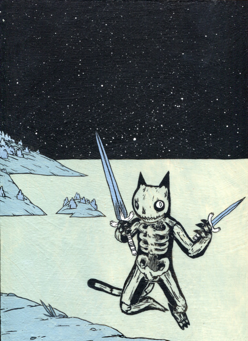dethpsun:  Skeleton Cat  Feature Friday! I love Deth P. Sun's work. I first saw it in Giant Robot magazine years ago and I was instantly hooked. Glad I can follow him on tumblr too!