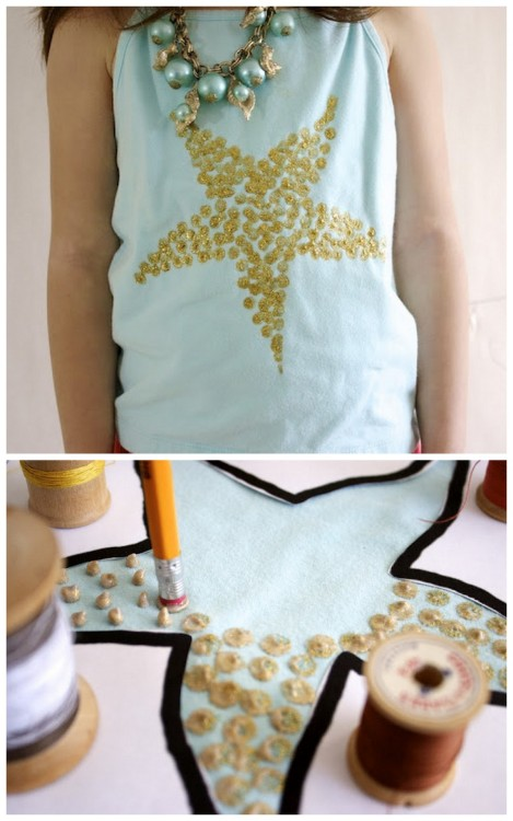 rainbowsandunicornscrafts:  DIY Kids Freezer Paper Stencil Starfish Tank. I'd definitely use paint that is multi duty or for fabric. Easy tutorial from Ruffles & Stuff here.