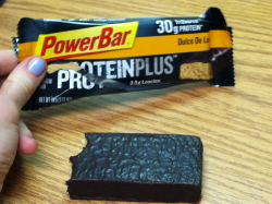 New favorite protein bar: PowerBar's Dulce De Leche…kind of high in calories (360) BUT its delicious and has 30g of protein!