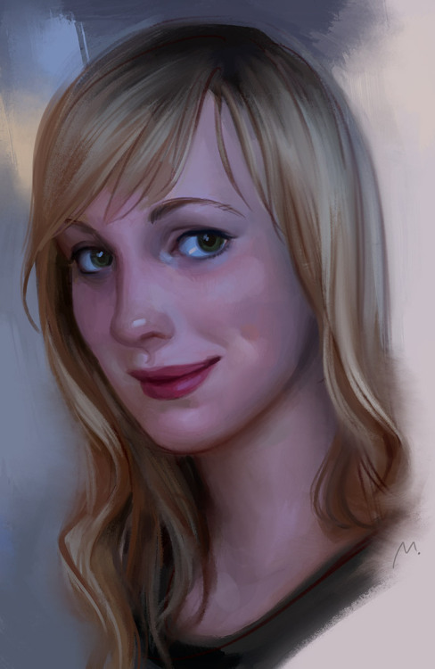 ren-ne-rei:  Quick portrait, from life  when I get somebody to sit for me I tend to get nervous as hell and rush terribly… that's why I usually stick to self-portraits :' I Like how the colors turned out, though