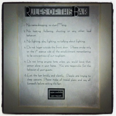 Rules of the Bar (Taken with instagram)