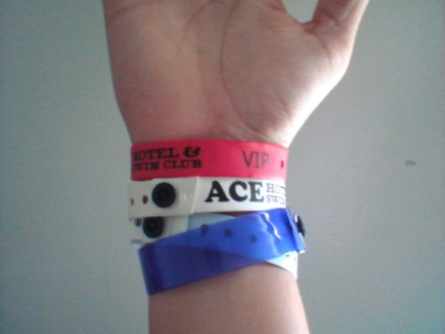 All my wristbands from The Ace Hotel for Desert Gold.