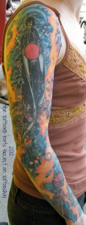 neil-gaiman:  P Craig Russell's gorgeous art as tattoo… with dermal crystals…  Holy crap, that's gorgeous.