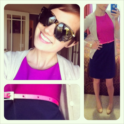 What I Wore: Colorblocking! I found this Cynthia Rowley dress at TJ Max and meant to take it back because it's a little brighter than I usually like to wear at work but I missed the 30 return deadline so instead I just wore it to work. My life is so exciting. Dress: magenta and navy color block funness- TJ Max(x?) Shoes: nude pumps by Franco Sarto- Lord and Taylor Sweater: trusty tan cardi- BR Belt: neon pink thinny, Nordstrom Sunnies: Everett, Warby Parker  It's almost Friday! M.