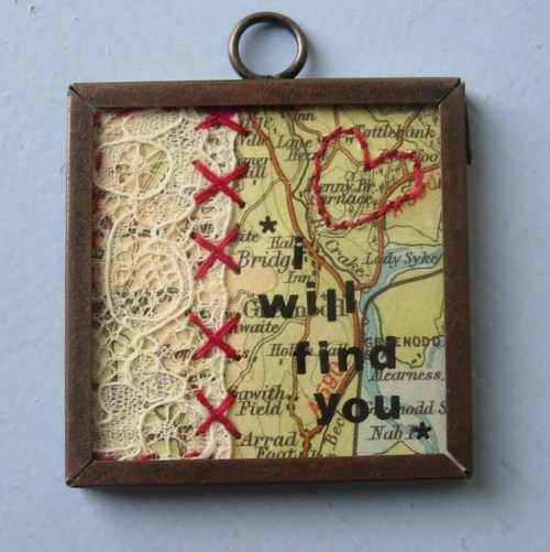 "truebluemeandyou:  DIY ""I Will Find You"" Map and Lace Pendant Necklace. Love this tutorial. The links to products are in the UK, but you can probably find everything at Michaels or Hobby Lobby. Easy tutorial from Maximum Rabbit Designs here."