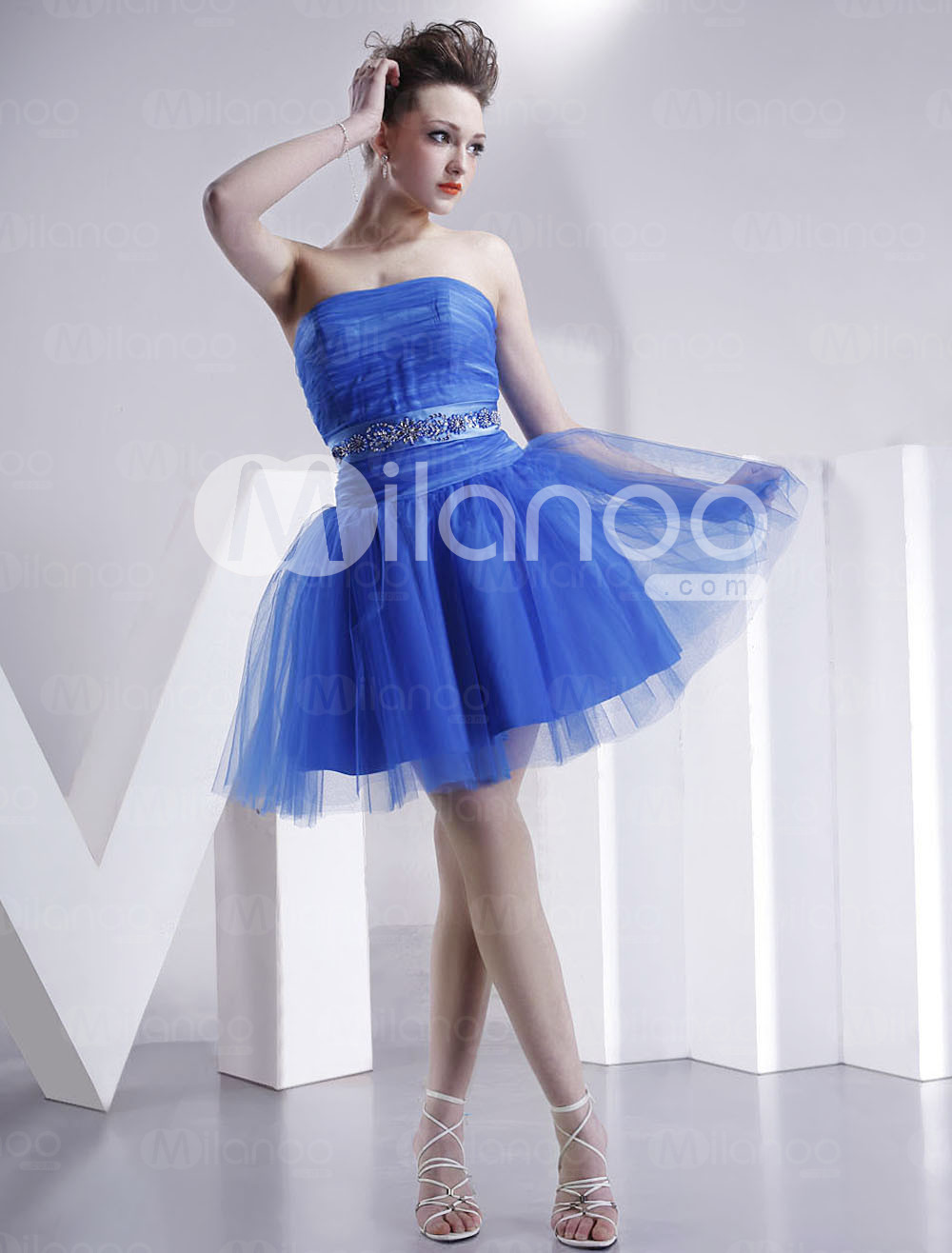 Strapless Beaded Tulle Skirt Satin Summer Cocktail Dress :  strapless summer satin cocktail dress
